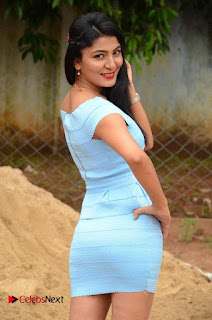 Actress Ankitha Jadhav Pictures in Blue Short Dress at Cottage Craft Mela 0009