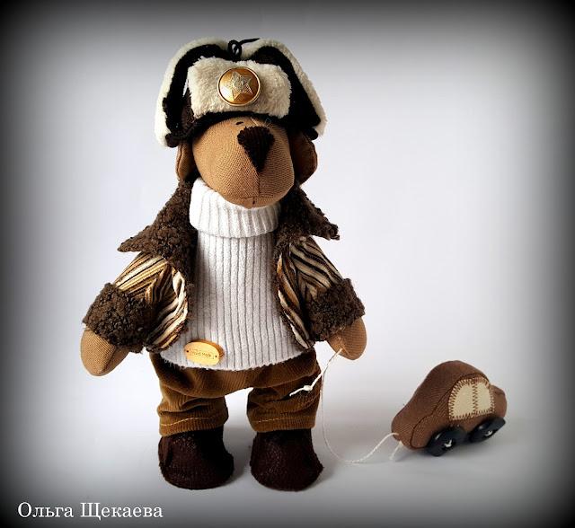 пёс, собака, ручная работа, мягкая игрушка, с машинкой, шапка-ушанка, символ года