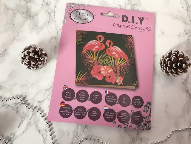 pink flamingo crystal card making set