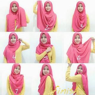 Gambar Cara Memakai Hijab Pashmina Persegi Panjang