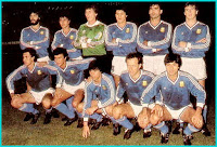 SELECCIÓN DE ARGENTINA - Temporada 1989-90 - Batista, Giusti, Falcioni, Monzón, Brown y Fabbri; Valdano, Gorosito, Basualdo, Calderón y Olarticoechea - A. S. MONACO 2 ARGENTINA 0 - 10/01/1990 - Partido amistoso no oficial - Mónaco, estadio  Luis II