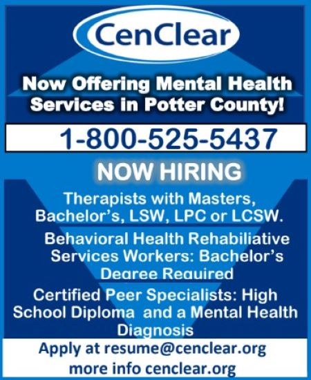 CenClear Now Offering Mental Health Services