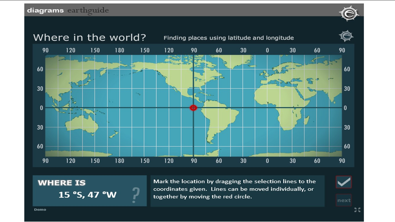 the university of california san diego has a great interactive activity where students mark coordinates on an online map to check their skill in finding