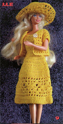 Roupa de Crochê Para Barbie Com Gráfico - Julie - 1000 Mailles Robes de Poupée avec schema - Dress and hat for dolls