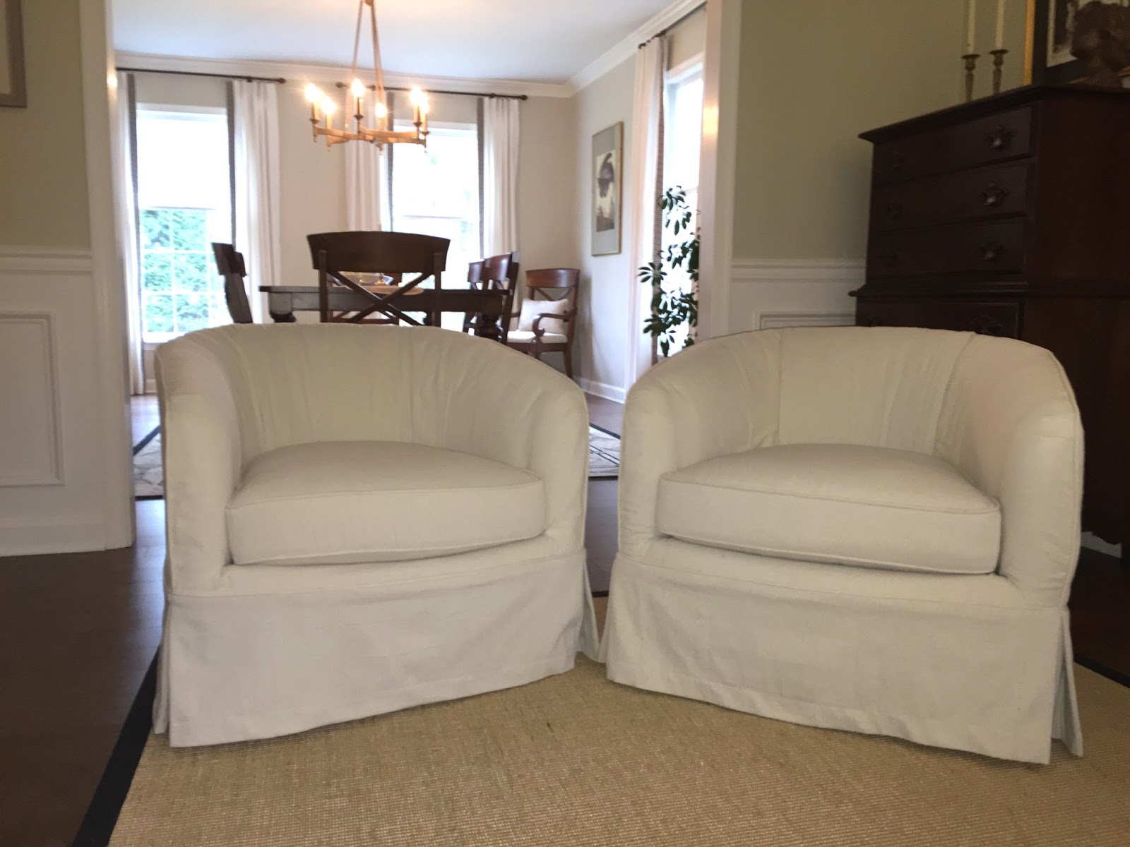 barrel swivel chair slipcover vintage bistro table and chairs pam morris sews dramatic rescue with drop cloths