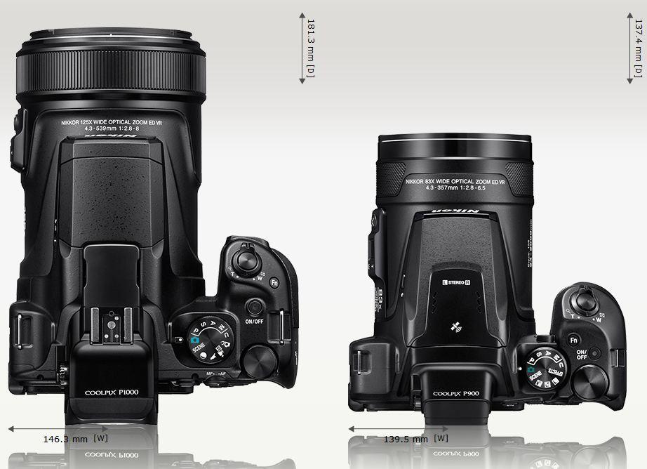 Сравнение габаритов Nikon Coolpix P1000 и Nikon Coolpix P900