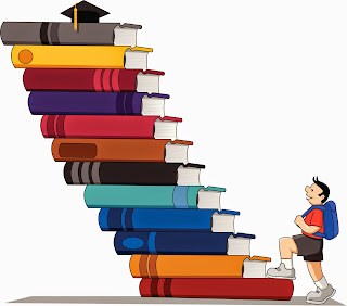 Cartoon of student climbing a staircase made of books in pursuit on graduate cap at the top.