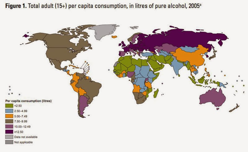 40 Maps That Will Help You Make Sense of the World - Map of Alcohol Consumption Around the World