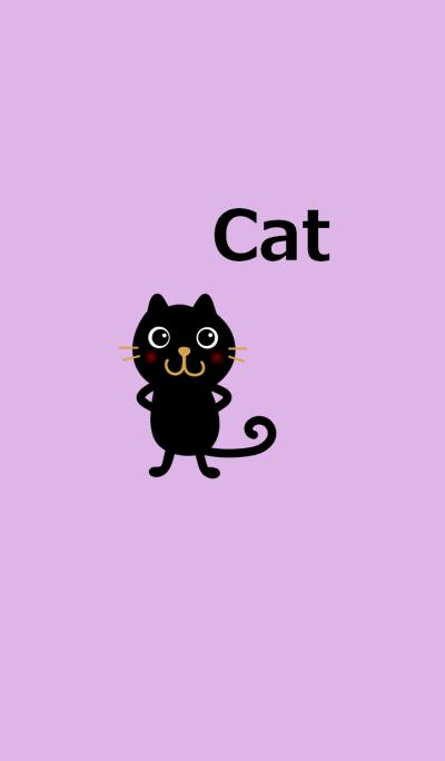 黒ネコと薄紫色