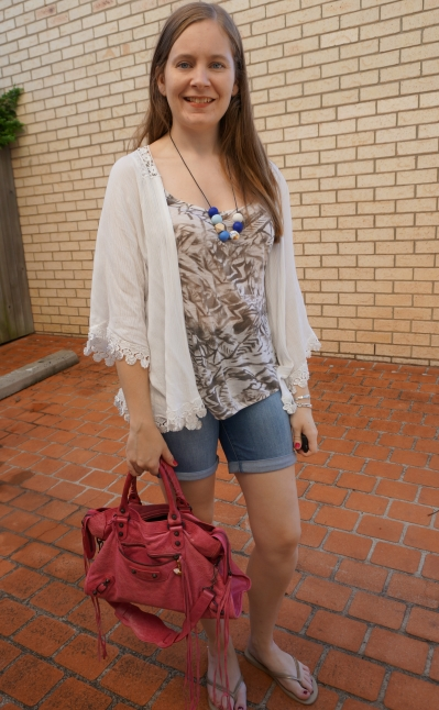 crochet trim kimono, printed tank, bermuda denim shorts, pink Balenciaga city | awayfromblue