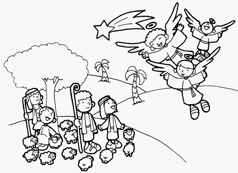 heavenly host of angels coloring pages | PARA COLOREAR: Nacimiento de Jesús para colorear