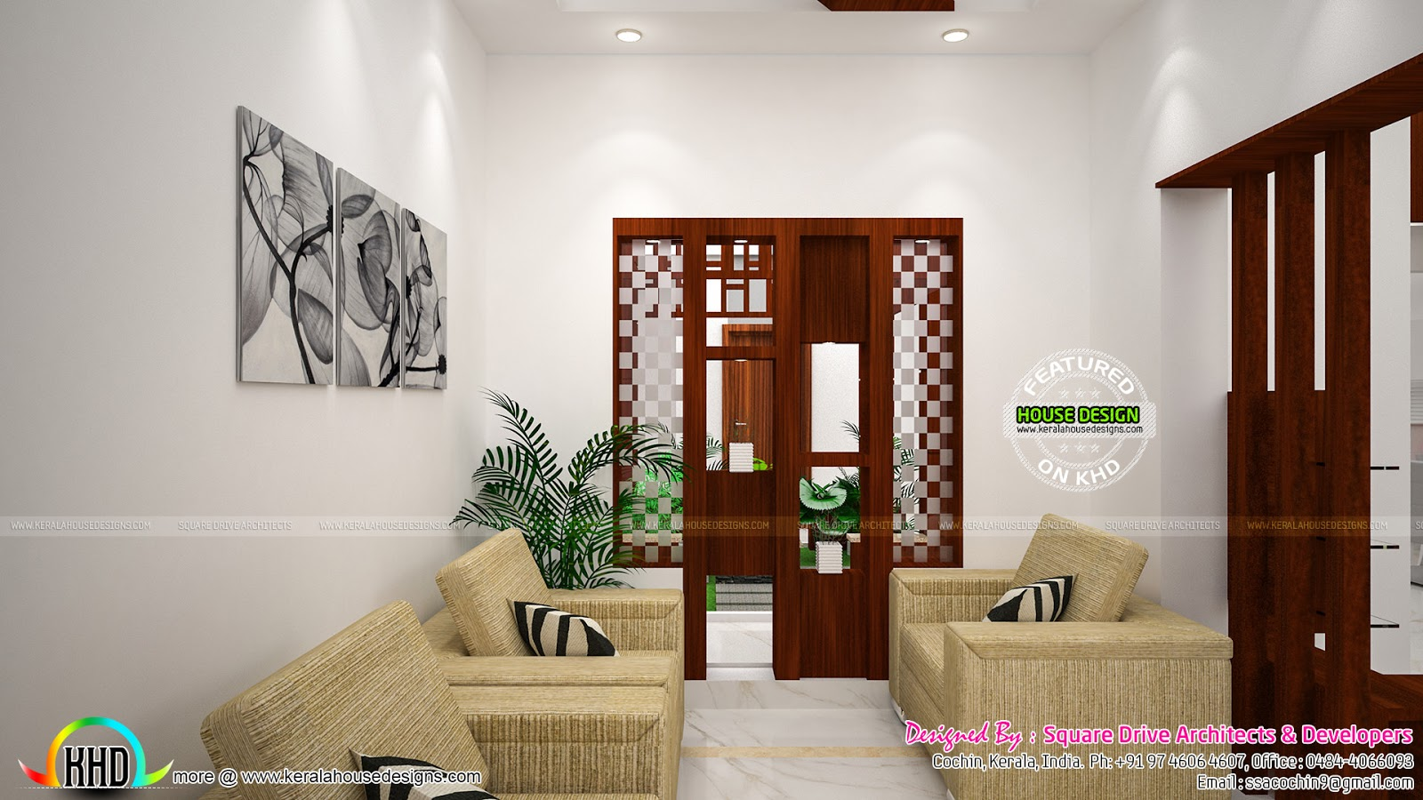 Foyer Plan Kerala : Foyer living dining room interiors kerala home design