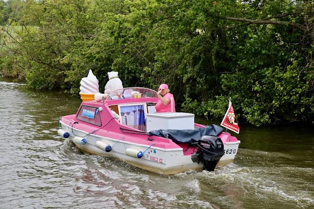 ice cream boat. Boating on the Norfolk broads, pic: Kerstin Rodgers/msmarmitelover.com