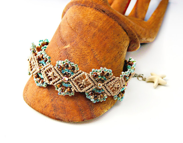 Micro macrame bracelet in tan and turquoise with starfish charm.