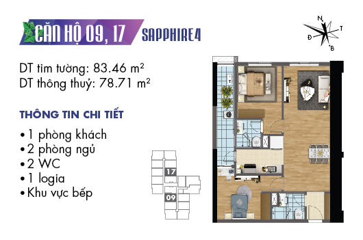 Căn hộ 09 17 Sapphire 4 Goldmark City