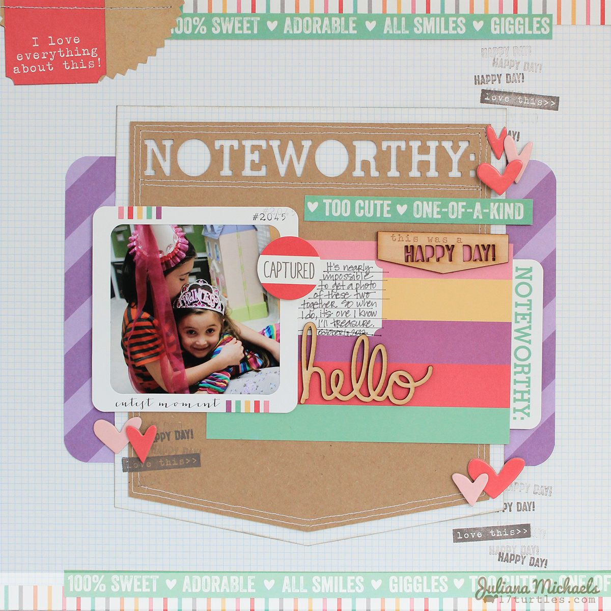 Noteworthy Scrapbook Page by Juliana Michaels using Elle's Studio April 2014 Kit