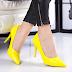 Pantofi dama cu toc galbeni la moda ieftini