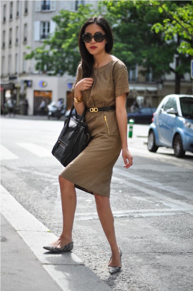Sheath Dress With Flat Shoes