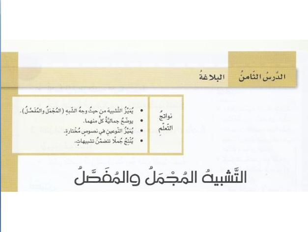 حل درس التشبيه تبعا لوجه الشبه والتشبيه المجمل لغة عربية صف ثامن فصل ثاني 2019