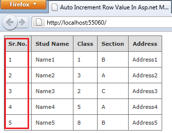 Auto Increment Row Value In Asp net MVC WebGrid Using C# Net