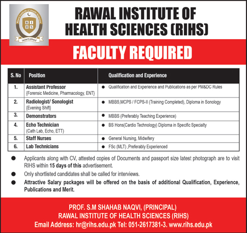Jobs Vacancies In Rawal Institute Of Health Sciences 15 January 2019