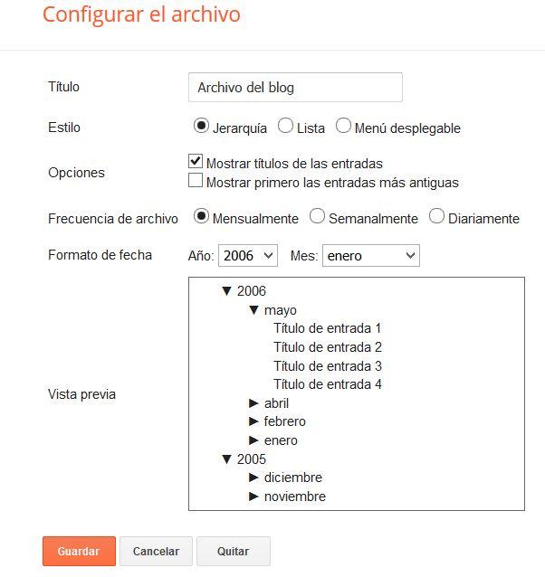 Configuración gadget Archivo del Blog estilo jerarquía en Blogger
