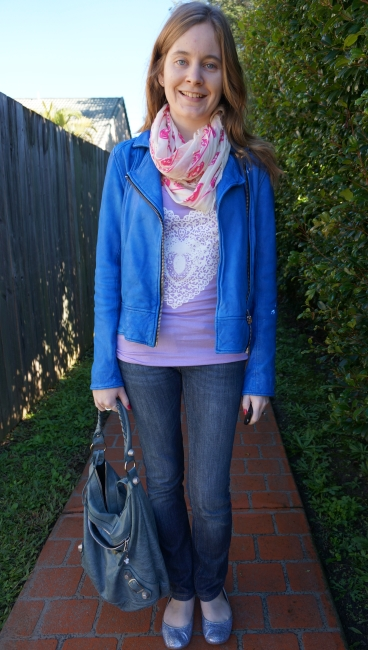 Away From Blue Aussie Style Blogger lilac tee jeans leather jacket Bal bag