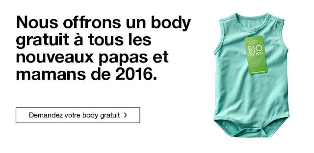 Body Gratuit pour bébés nés en 2016 à retirer en magasin !