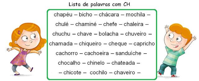 Lista de palavras com CH