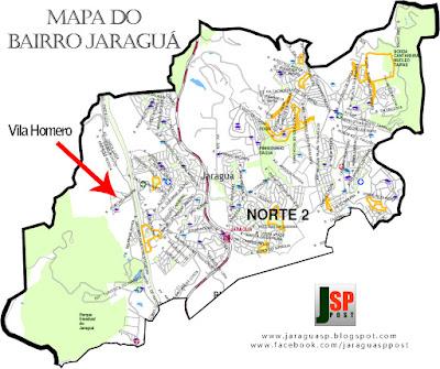 Posição da Vila Homero dentro do bairro Jaraguá