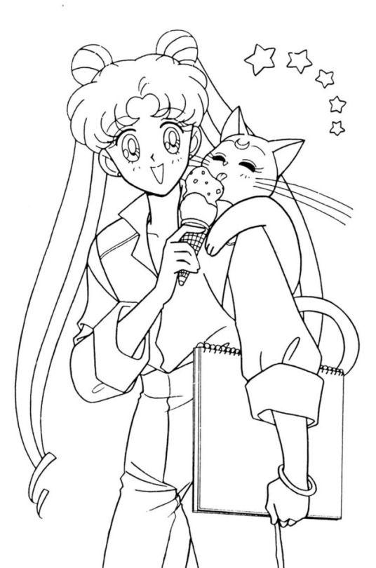 Tranh tô màu thủy thủ mặt trăng và con mèo