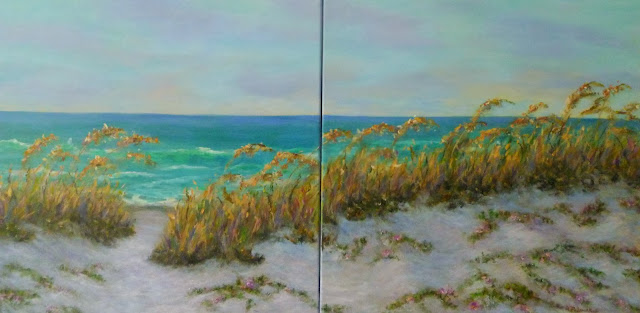 Coastal Painting with Sand Dunes and Sea Oats