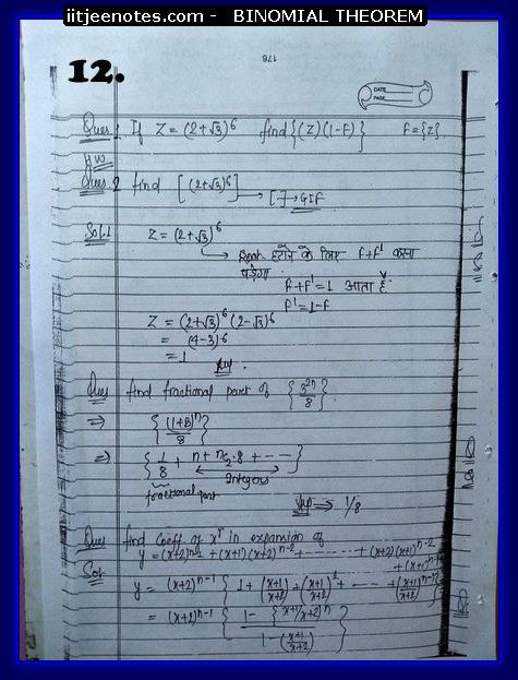 IITJEE Notes on Bimomial Theorem class 11