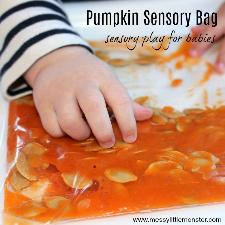 Pumpkin Sensory Bags - Sensory play for Babies
