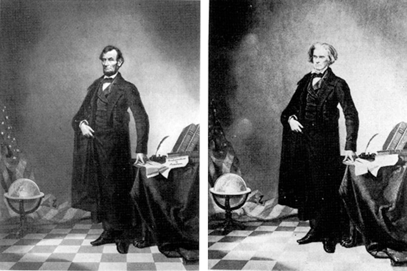 "This portrait of Lincoln (arguably the most iconic Abraham Lincoln image we have) isn't even Abraham Lincoln. It's just his head, placed on Southern politician John Calhoun's body. Apparently he didn't have any ""heroic"" looking pictures, so they just stuck his head on Calhoun's body, who, ironically was an ardent supporter of things Lincoln was ardently opposed to…"