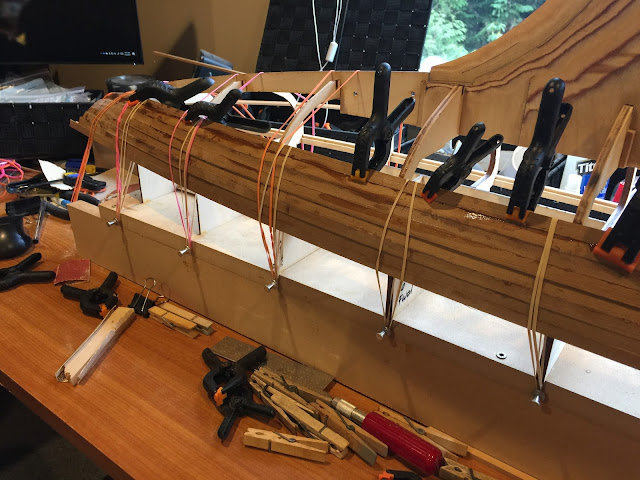 Wooden radio control sailboat planking system
