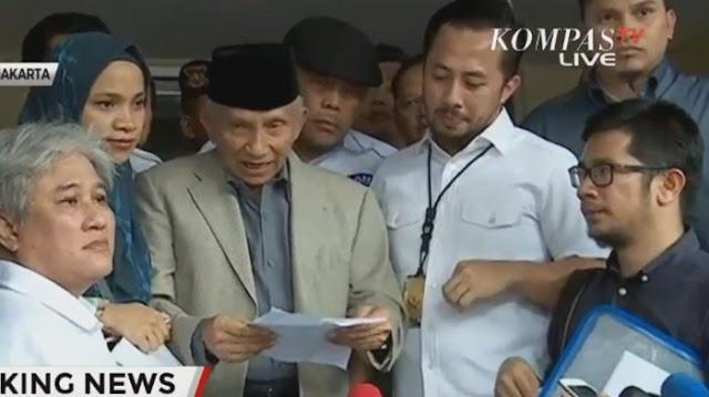 Pernyataan Lengkap Amien Rais di Polda Metro Jaya Terkait Kasus Hoax Ratna Sarumpaet
