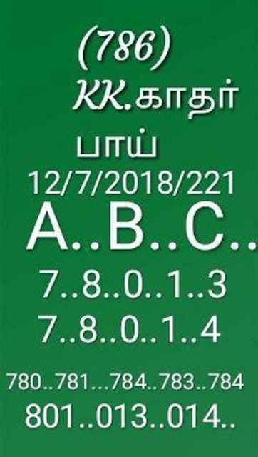 KK Kerala Lottery abc Guessing 12-07-2018 Karunya Plus KN-221