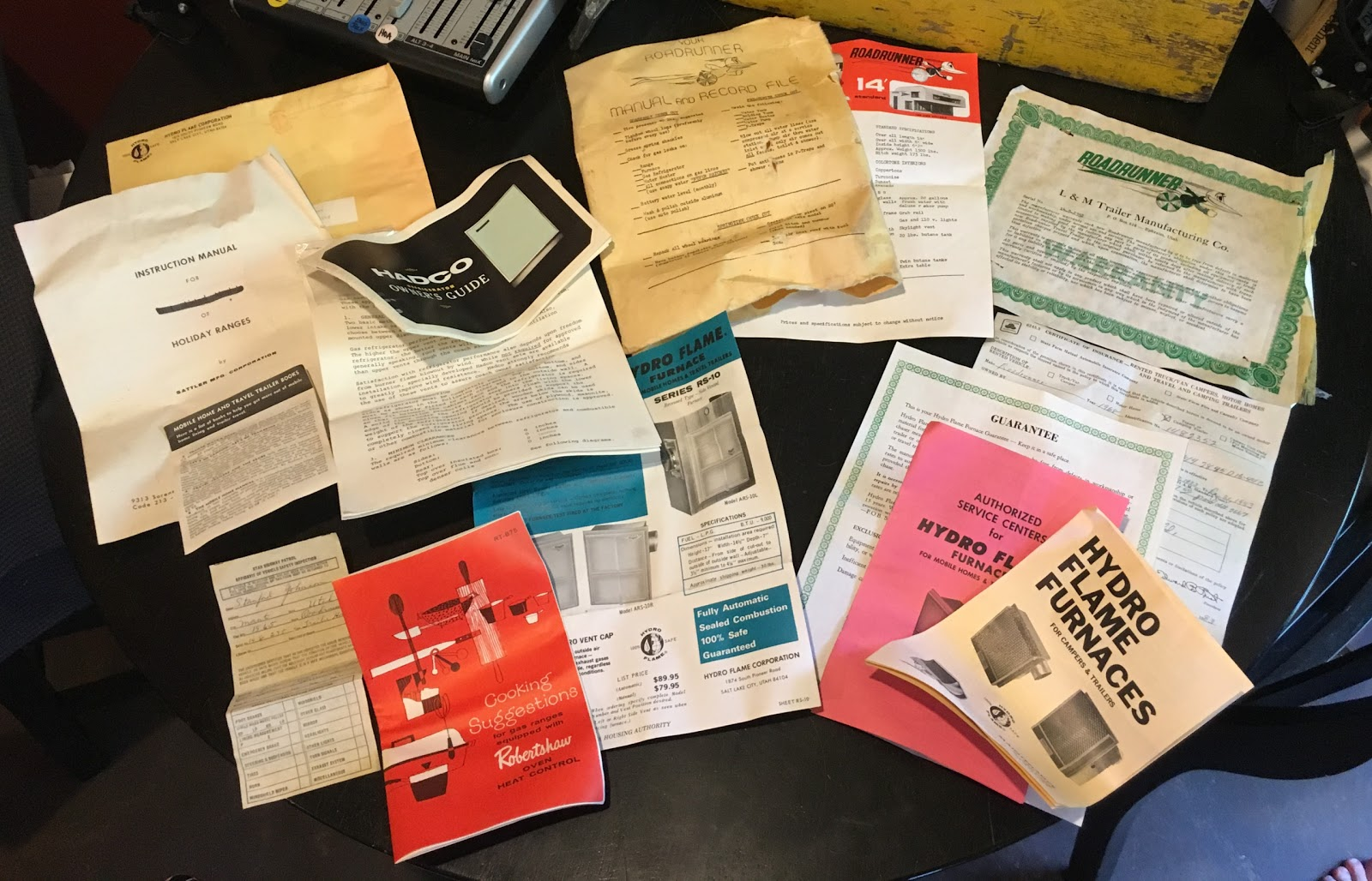"""These original manuals came from Steve Hartline's 1968 14' RoadRunner  Travel Trailer (camper) named """"The Lazy H"""". They were an unexpected  surprise as they ..."""