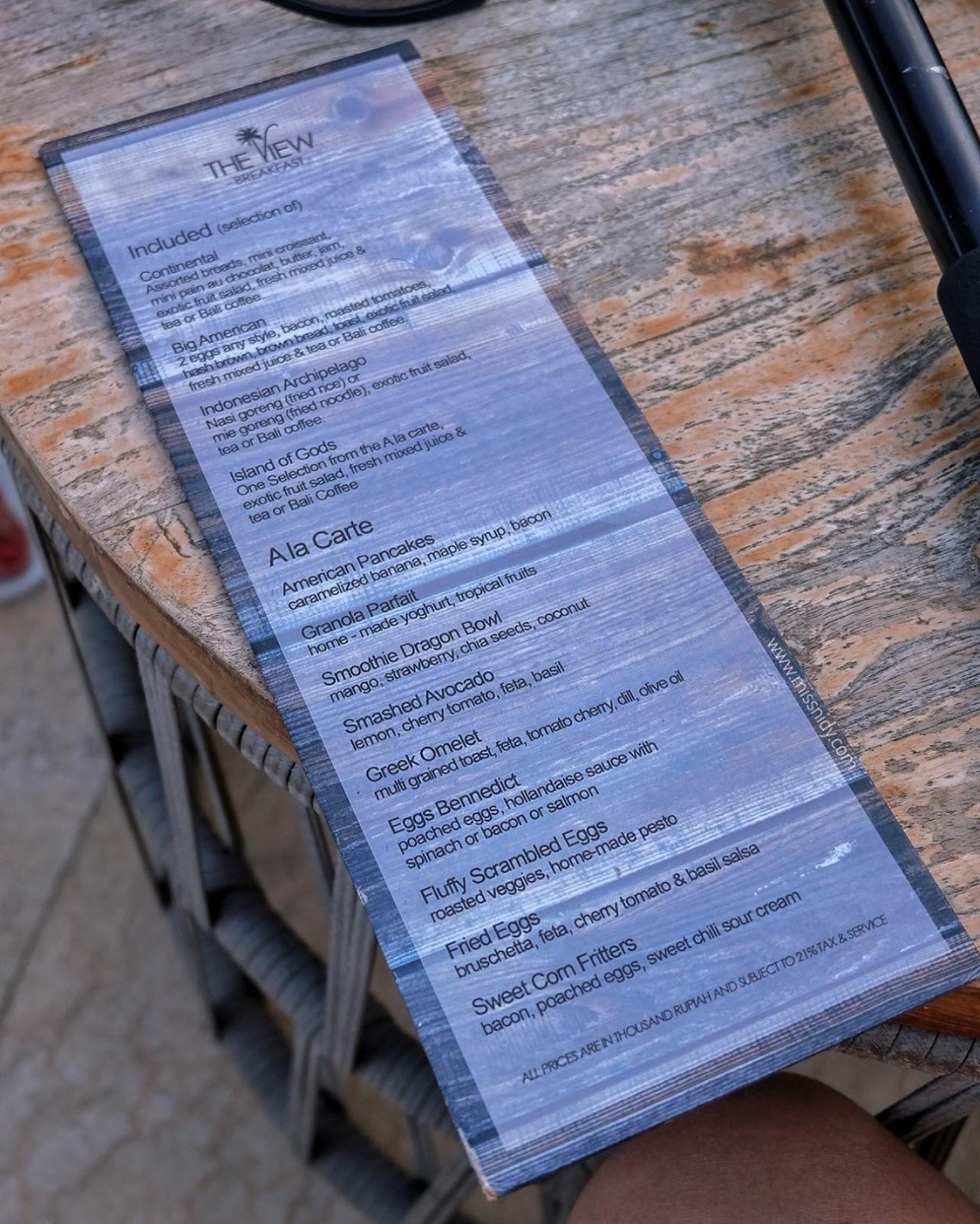 menu sarapan di la joya II biubiu bali