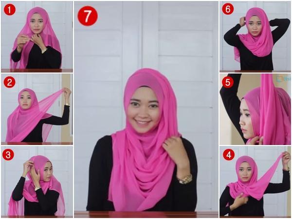Tutorial Hijab Paris Segi Empat  Untuk sehari-hari