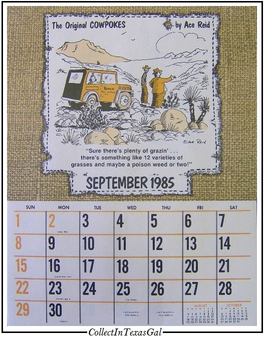 1985 Calendar.Collectin Texas Gal September Calendar Coincidence