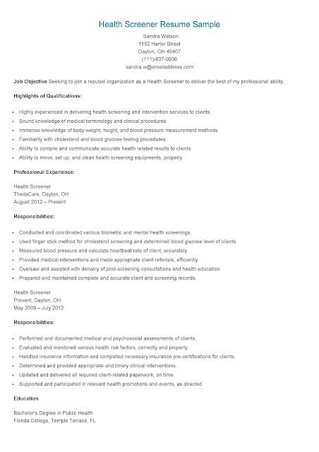 resume samples  health screener resume sample