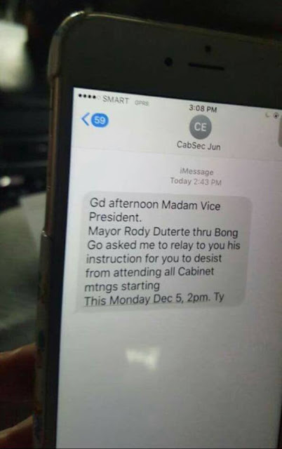 MUST-SEE: Evasco's Text Message Telling VP Robredo to Stop Attending Cabinet Meetings!