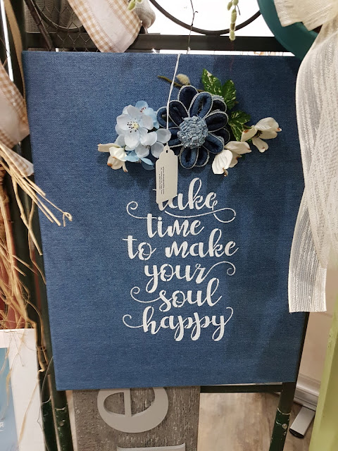 take time hand painted sign on denim panel The Camellia