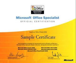 Sample Certificate MIcrosoft