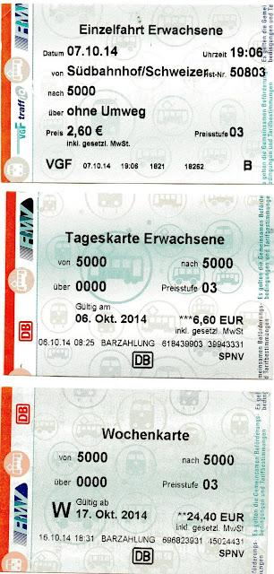 tickets de transporte em Frankfurt