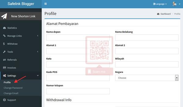 seting profile safelink blogger