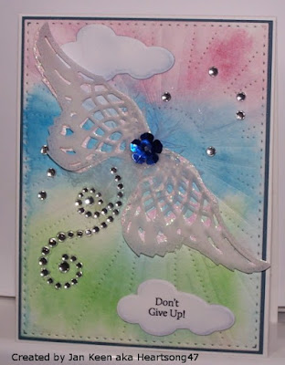 ODBD Mini Tag Sentiments, ODBD Custom Angel Wings Dies, ODBD Custom Sunburst Background Die, ODBD Custom Clouds and Raindrops Dies, Card Created by Jan Keen aka Heartsong47
