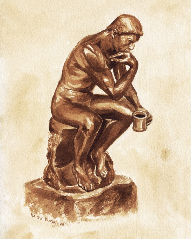 13-Auguste-Rodin-The-Thinker-Karen-Eland-Coffee-and-Water-Recreate-Famous-Paintings-with-a-Difference-www-designstack-co